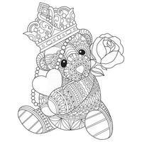 urso de pelúcia desenhado à mão para livro de colorir adulto vetor