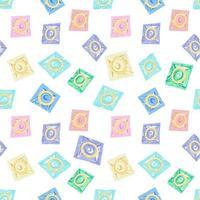padrão sem emenda com preservativos. o conceito de sexo seguro. dia mundial da contracepção. anticoncepcionais de látex no pacote.prevenção de aids, HIV e doenças sexualmente transmissíveis. ilustração em vetor