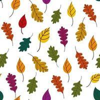 padrão de folhas caídas. padrão de outono bothnian com folhas caídas de árvores em um fundo branco. fundo de outono. ilustração vetorial em estilo simples para papel de embrulho, impressão têxtil, blogs vetor