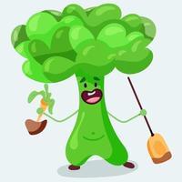 personagem de brócolis divertido vetor