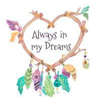 Apanhador de sonhos bonitos com forma de coração vetor