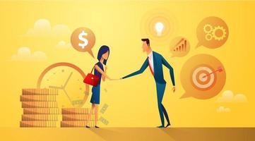 conceito de parceria empresários comprando e vendendo ideias e metas vetor