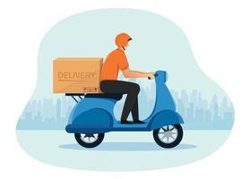 entregador andando de scooter motocicleta conceito de serviço de entrega vetor