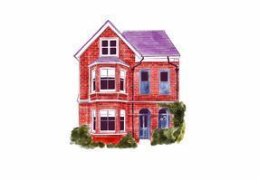 aquarela exterior casa vetor