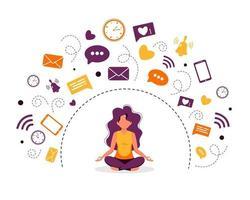 mulher com conceito de desintoxicação digital meditando na posição de lótus vetor
