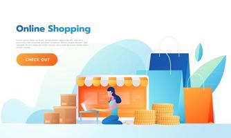 mulher feliz vendendo produtos online ou comprando online. vetor