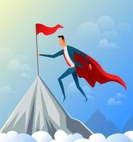 super empresário voando no topo da montanha para a bandeira de sucesso. vetor