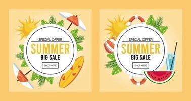 pôster de venda de férias de verão com molduras circulares vetor