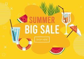 pôster de venda de férias de verão com conjunto de ícones vetor