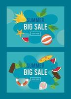 pôster de venda de férias de verão com quadros de resumos vetor