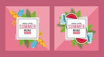 pôster de venda de férias de verão com molduras quadradas vetor