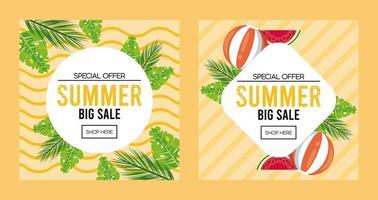 pôster de venda de férias de verão com molduras circulares e de diamante vetor