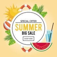 cartaz de venda de férias de verão com moldura circular vetor
