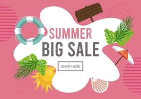 cartaz de venda de férias de verão com moldura abstrata vetor
