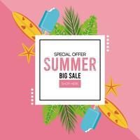 cartaz de venda de férias de verão com moldura quadrada vetor