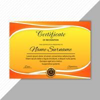 Fundo de onda colorida de diploma certificado modelo vetor