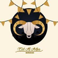 Cartão de celebração eid al adha com cabeça de cabra e guirlandas vetor