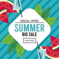 pôster de venda de férias de verão com moldura de diamante vetor