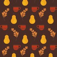 aproveite o pôster de outono com padrão de folhas e frutas secas vetor