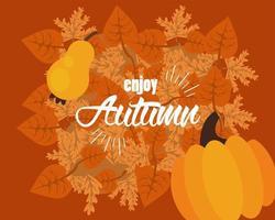 aproveite as letras de outono com folhas e frutas secas vetor