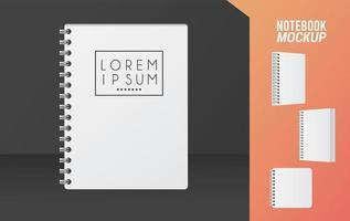 ícone de maquete de caderno de cor branca vetor