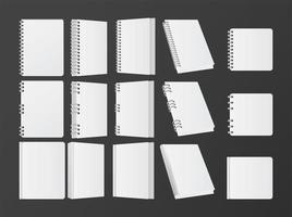 conjunto de livros e maquete de cadernos ícones de cor branca vetor