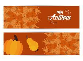 aproveite as letras de outono com folhas e banners de frutas secas vetor