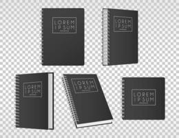 cinco blocos de notas ícones de cor preta vetor