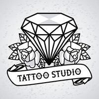 gráfico de estúdio de tatuagem de diamante luxuoso com flores vetor
