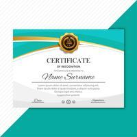 Modelo de certificado prêmios diploma fundo onda vector desig