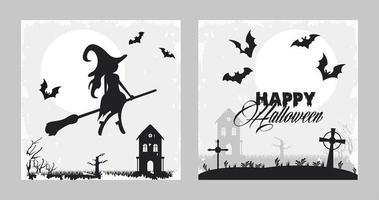 cartão de feliz festa de halloween com bruxa e morcegos voando vetor