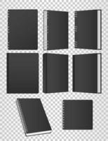 conjunto de maquete de livros e cadernos ícones de cor preta vetor