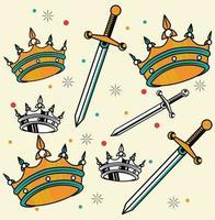gráfico de estúdio de tatuagem de coroas e espadas vetor