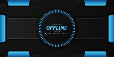 futuro tecnologia geométrica dark cyber background para stream offline twitch de videogame ao vivo vetor