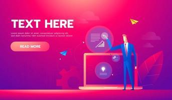 bandeira do conceito de análise de negócios. pode usar para web, infográficos, imagens de negócios. vetor