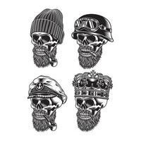 coleção de personagens de caveira barbada vetor