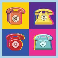 Padrão de Pop Art de Telefone Giratório vetor