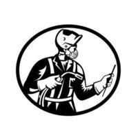 soldador usando máscara facial segurando uma tocha de soldagem vista de dentro da xilogravura oval retro vetor