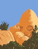 Formação rochosa de granito do deserto em forma de crânio, criada pela erosão conhecida como rocha craniana, localizada no parque nacional joshua tree, na califórnia wpa poster art vetor