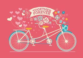 Bicicleta em tandem desenhada bonito para convite de casamento vetor