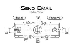 pessoa enviar e-mail e outro arquivo do telefone para outro estilo de contorno de equipamento vetor