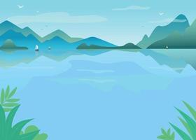ilustração vetorial de lago com água azul. vetor