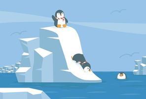 pinguins deslizando pela encosta nevada para a água vetor