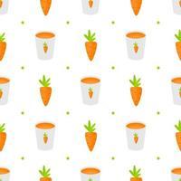 copo de vidro de suco de cenoura vitamina. padrão de fundo simples sem costura vetor