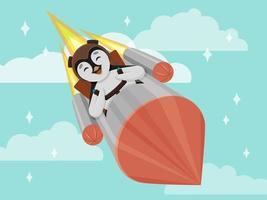 pequeno pinguim fofo voando em um foguete vetor