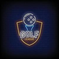 vetor de texto de estilo de sinais de néon da liga de golfe