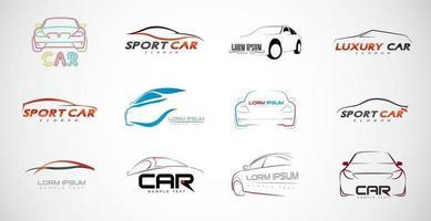 conjunto de vetor de logotipo de carro