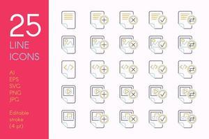 conjunto de ícones lineares de cores de documentos e arquivos vetor