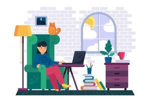 mulher trabalho remoto em laptop em vetor de espaço de trabalho