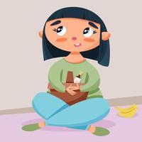 menina com cesta de piquenique de comida vetor